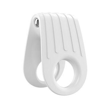 Ovo B12 Эрекционное кольцо, белое С виброэлементом, два отверстия для пениса ду frivole комбинезон 1