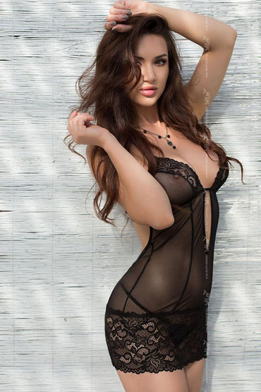 Soft Line комбинация и стринги, черные С глубоким декольте эротическая пижама abette