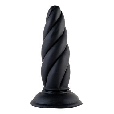 ToyFa Black&Red Анальная втулка, черная С рельефной поверхностью трусики стринги женские с доступом белые m l