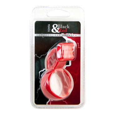ToyFa Black&Red Насадка на пенис, красная С клиторальным стимулятором toyfa black
