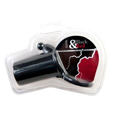 ToyFa Black&Red Насадка на пенис, черная С клиторальным стимулятором и кольцом для мошонки toyfa black