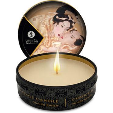 Shunga Massage Candle, 30мл Массажная свеча, ванильный фетиш бюст пояс и стринги capri l xl