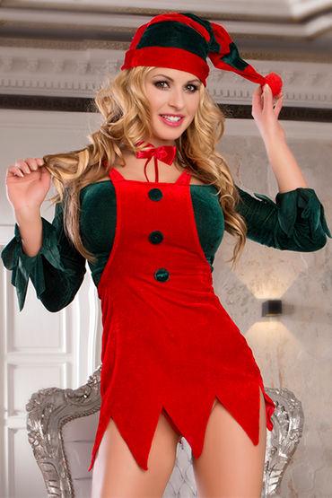 Candy Girl Помощница Санты Топ, юбка, галстук, колпачок и стринги