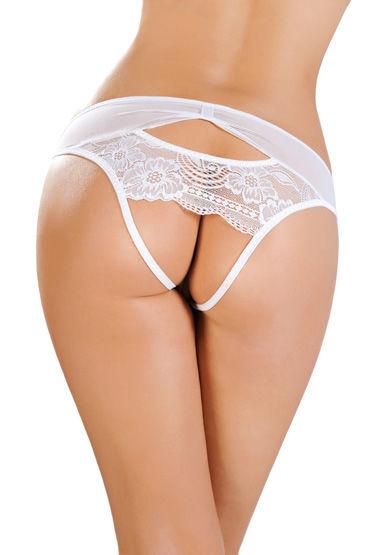 Erolanta Откровенные трусики, белые Со вставкой стрейч-сетки страпоны с креплениями для женщин shots toys