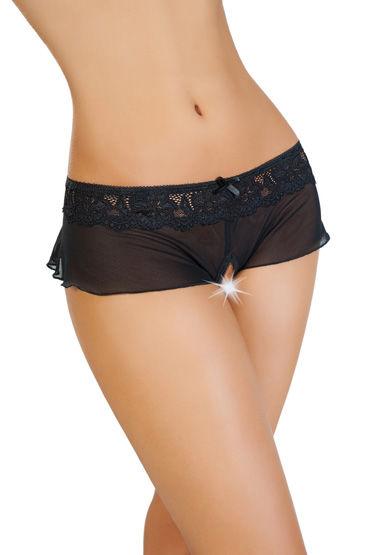 Erolanta Эротические трусики-юбочка, черные Из стрейч-сетки erolanta эротические трусики юбочка белые из стрейч сетки