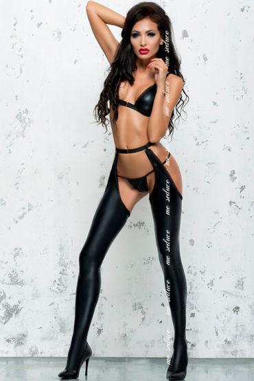 Me Seduce Eliane, черные Бюстгальтер, пояс, стринги и чулки me seduce портупея рабыни черная дыра