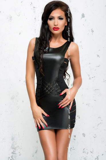 Me Seduce Lea, черное Платье из экокожи на молнии р бюстгальтеры откровенные с вырезами материал искусственная кожа