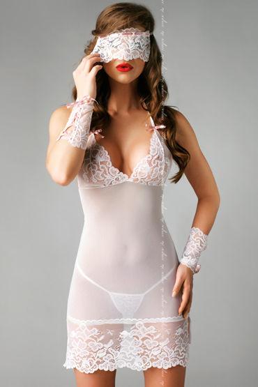 Me Seduce Bianca, белая Ночная сорочка, стринги, маска и манжеты черная сорочка и стринги angela xxl 3xl