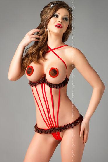 Me Seduce Rita, красное Боди из тонких лент с доступом demoniq doris черный комплект с поясом для чулок