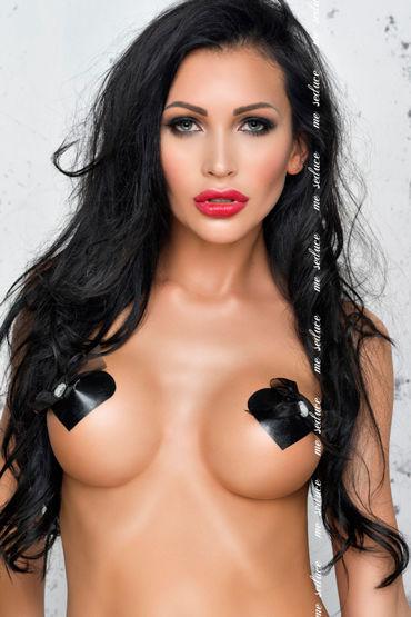 Me Seduce NC023 Наклейки на соски, черные В форме сердечек с бантиками