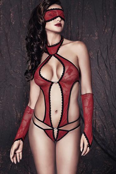 Anais Ashley, красное Боди, маска и перчатки красное боди и митенки elza xxl 3xl