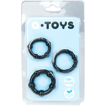 Toyfa A-toys Набор колец, черные Со стимулирующими шариками erotic fantasy teadrop m кольцо с металлическим языком