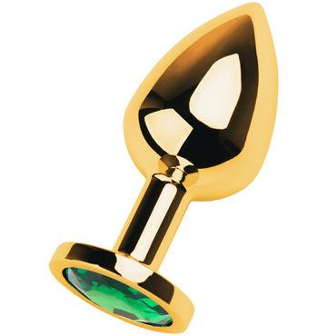 Toyfa Metal Средняя анальная пробка 8 см, золотая С кристаллом цвета изумруд toyfa metal большая анальная пробка золотая с кристаллом цвета сапфир
