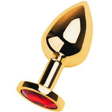 Toyfa Metal Средняя анальная пробка 8 см, золотая С кристаллом цвета рубин кляп паук toyfa theatre серебристый