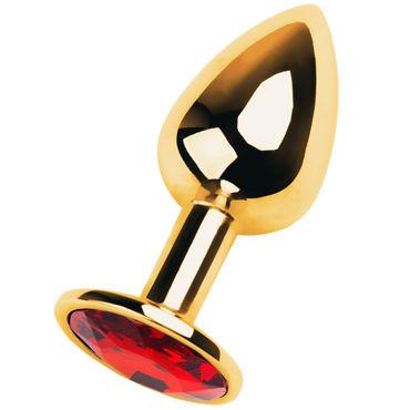 Toyfa Metal Малая анальная пробка 7 см, золотая С кристаллом цвета рубин toyfa втулка 7 см золотистая на подставке с имитацией бриллианта