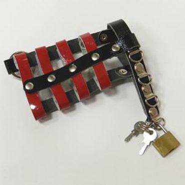 Podium пояс верности, красно-черный С замочком и ключами пояс верности для мужчин