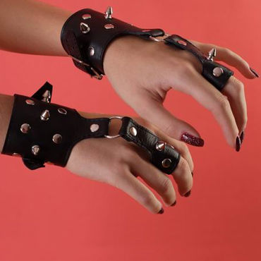 Podium наручники Декорированные шипами плетка из натуральной кожи