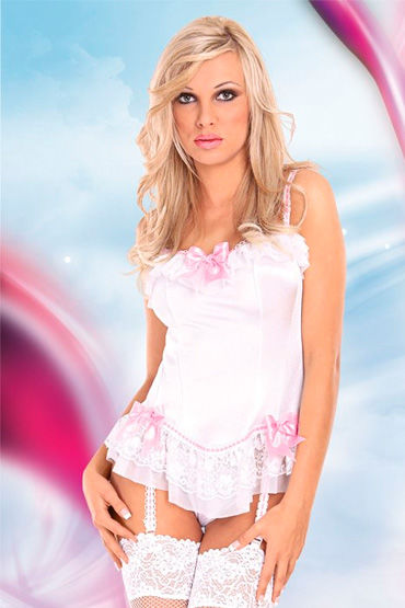 Soft Line корсет и стринги С розовыми бантиками и оборками корсет с подвязками и стринги m l