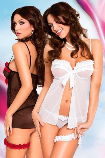 Soft Line комплект, белый Пеньюар, стринги и подвязка белый бюст и стринги hope s