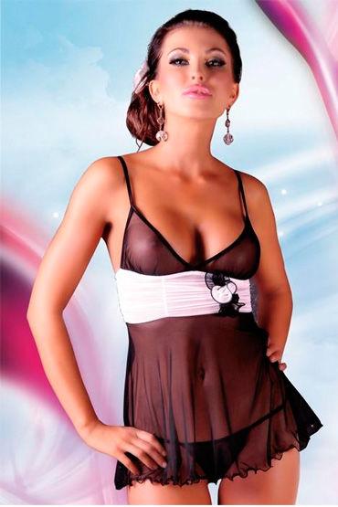 Soft Line комплект, черный Комбинация с белым пояском и стринги toyfa theatre плеть кошка красная замшевая