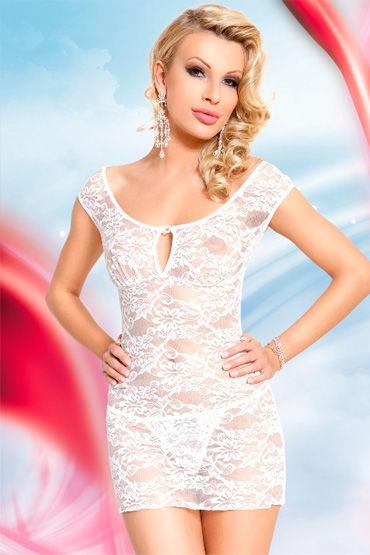 Soft Line комбинация, белая Сорочка с цветочным кружевом obsessive spicy open thong черные трусики с открытой промежностью