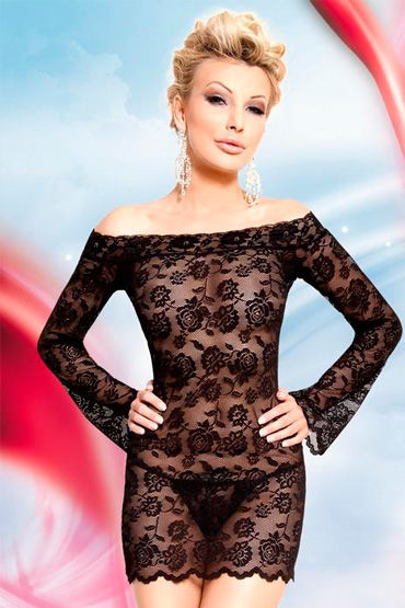 Soft Line Lamia, черный Сорочка с длинными рукавами и стринги фаллоимитатор на присоске colours thin 8 фиолетовый