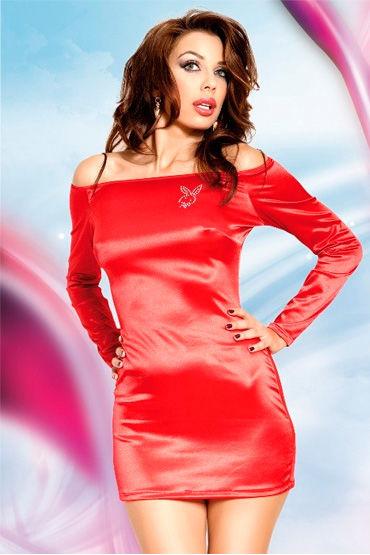 Soft Line Tyler, красный Платье с открытыми плечами, длинный рукав sitabella наручники золотые с подкладкой из искусственного меха