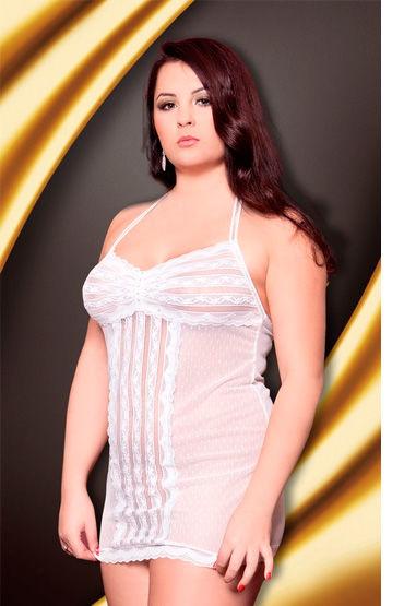 Soft Line сорочка, белая На бретельках, в горошек сорочка и стринги soft line mia размер s m цвет белый