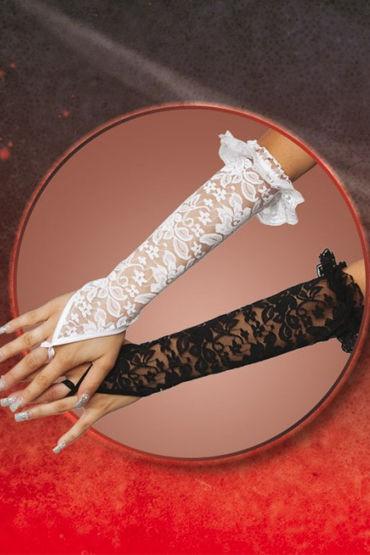 Soft Line перчатки, черные Кружевные, до локтя насадка удлинитель 5 см cyberskin минивибратор