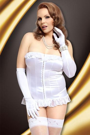 Soft Line комплект, белый Стринги и корсет с кружевными оборками lola toys orgasm beads серая
