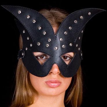 Toyfa-leather маска Хром bdsm арсенал стек черный с шлепком в форме сердца
