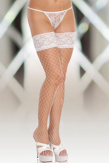 Soft Line чулки, белые В крупную сетку natural instinct silk heart для женщин 50 мл духи с феромонами