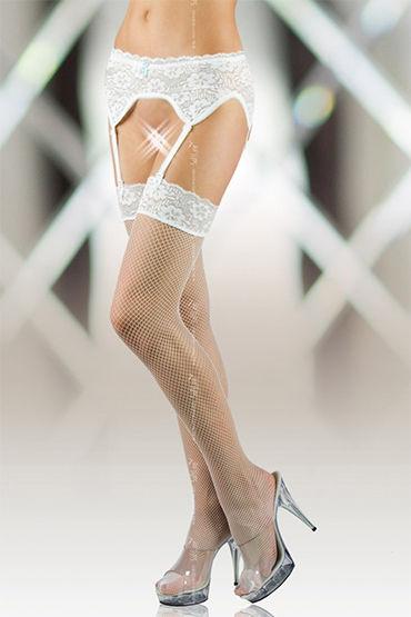 Soft Line комплект, белый Пояс и чулки в сетку г жа соблазн студентов с яркими цветами сиамского bachelor службы сексуальное платье женское белье сексуальное ночной бар комбинезоны костюм
