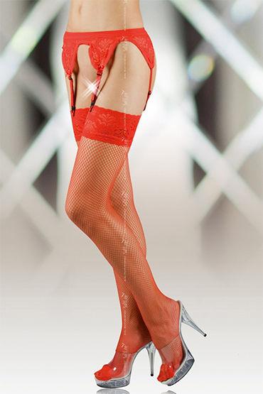 Soft Line комплект, красный Пояс и чулки в сетку чулки soft line в крупную сетку белые xxl