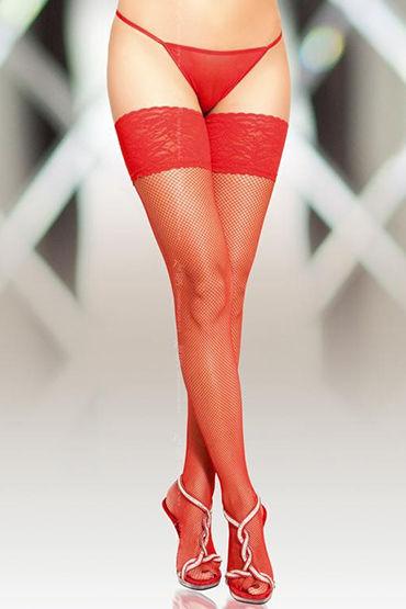 Soft Line чулки, красные В сеточку, со швом чулки и пояс soft line красные ii