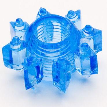 Toyfa кольцо, синее Эрекционное, в виде снежинки toyfa theatre кляп трензель с отверстиями