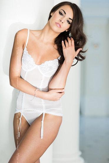 Soft Line комплект, белый Полупрозрачный корсет и стринги черные стринги amber s m