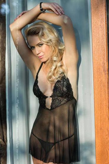 Soft Line комплект, черный Сорочка с кружевным лифом и стринги leg avenue платье экстравагантный клубный наряд