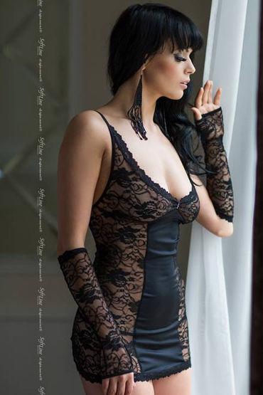 Soft Line комплект, черный Сорочка со шнуровкой сзади, стринги и перчатки вибромассажер toyfa black
