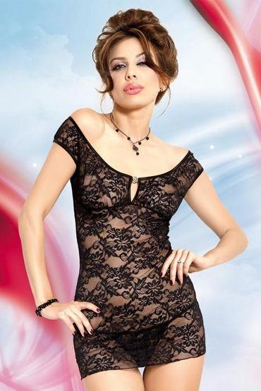 Soft Line комплект, черный Стринги и сорочка с цветочным кружевом е бдсм стеки материал натуральная кожа