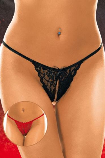 Soft Line трусики, черные Кружевные, с разрезиком трусики женские