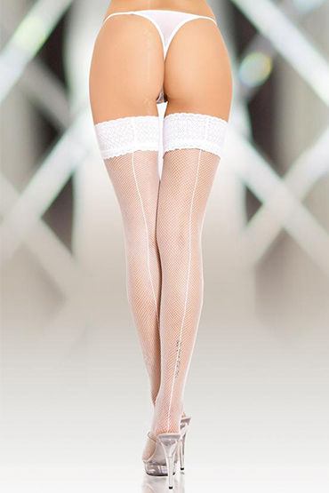 Soft Line чулки, белые В сеточку, со швом гель лубрикант wet platinum 124 мл 4 2 oz