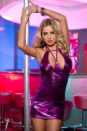 Candy Girl платье, фиолетовое Из блестящей ткани, с открытой спиной toyfa мастурбатор телесный