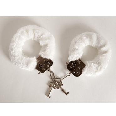 Toyfa наручники, 6см, белые Покрыты мягким материалом, с изящными ключиками комплект женский комбидресс стринги болеро фуражка чулки перчатки пистолет