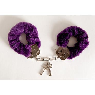 Toyfa наручники, 6см, фиолетовые Покрыты мягким материалом, с изящными ключиками bdsm арсенал стек черный с шлепком в форме сердца
