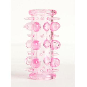 Toyfa набор насадок, розовый 5 штук, с шипами и пупырышками toyfa мастурбатор телесный реалистичный в виде бочонка