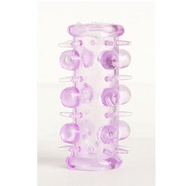 Toyfa набор насадок, фиолетовый 5 штук, с шипами и пупырышками bdsm арсенал стек черный с шлепком в форме сердца