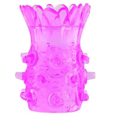 Toyfa насадка, 5 см, розовая В форме цветка, сквозная плетка из натуральной кожи