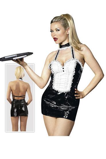 Cotelli платье горничной, черно-белое С открытой спиной, с застежкой на шее d cotelli платье горничной черно белое