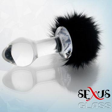 Sexus Glass анальная втулка С пушистым черным хвостиком lulu презерватив мужской 36 шт секс игрушки для взрослых